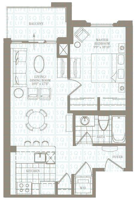1-Bed-1-Bath-The-Morgan-600-sqft chicago condo Chicago Condo 1 Bed 1 Bath The Morgan 600 sqft