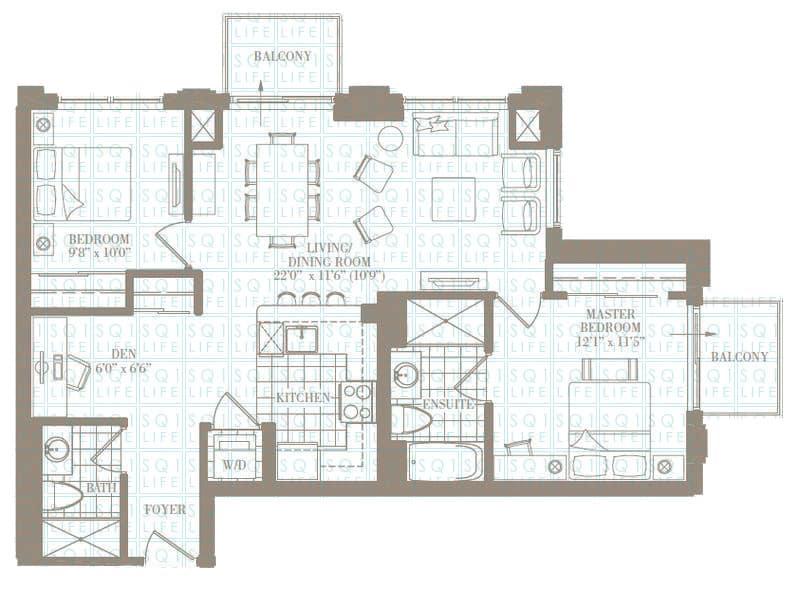 2+1-Bed-2-Bath-The-Norwood-1095-sqft chicago condo Chicago Condo 2 1 Bed 2 Bath The Norwood 1095 sqft