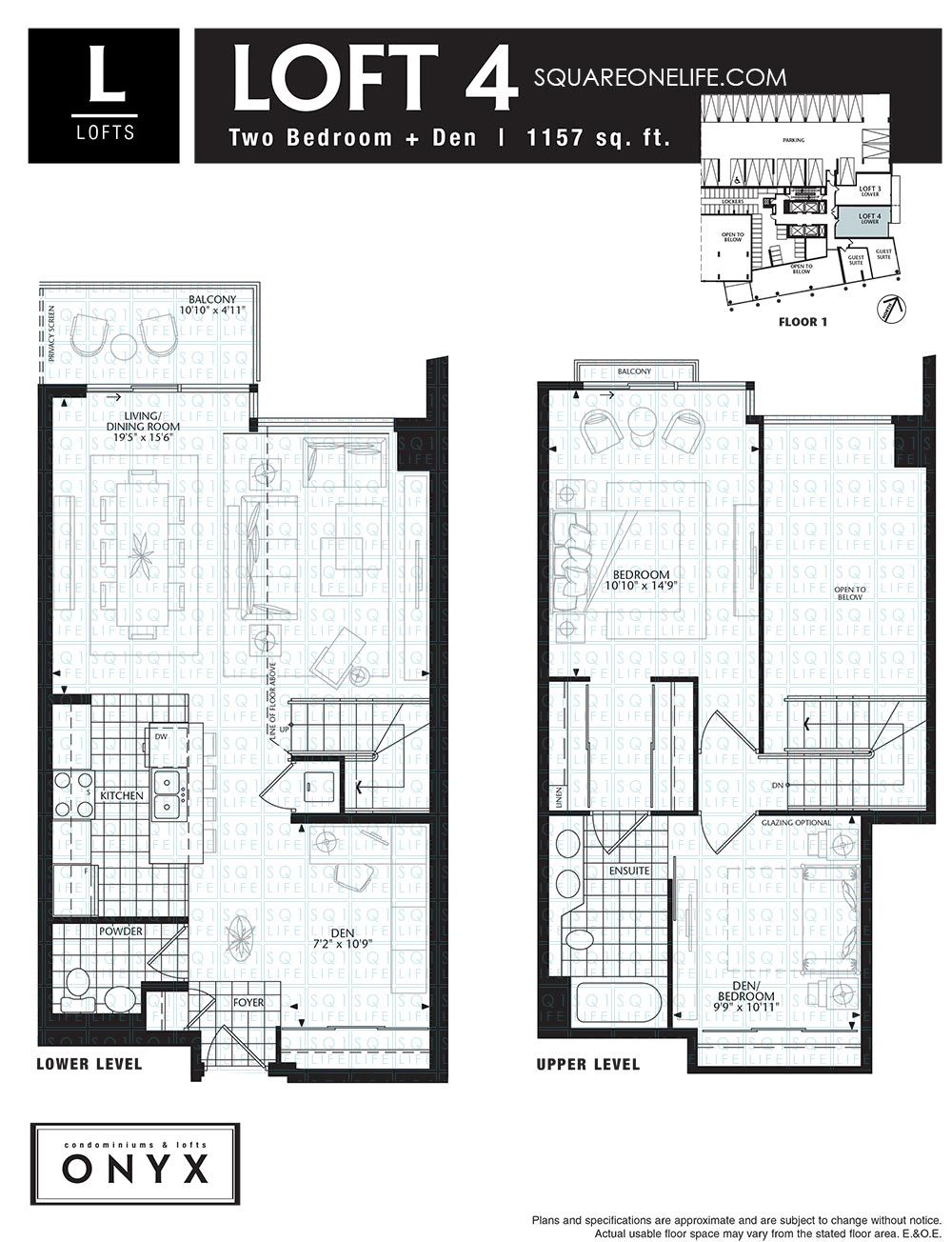 Onyx condo 223 webb dr mississauga squareonelife for 4 bedroom loft floor plans