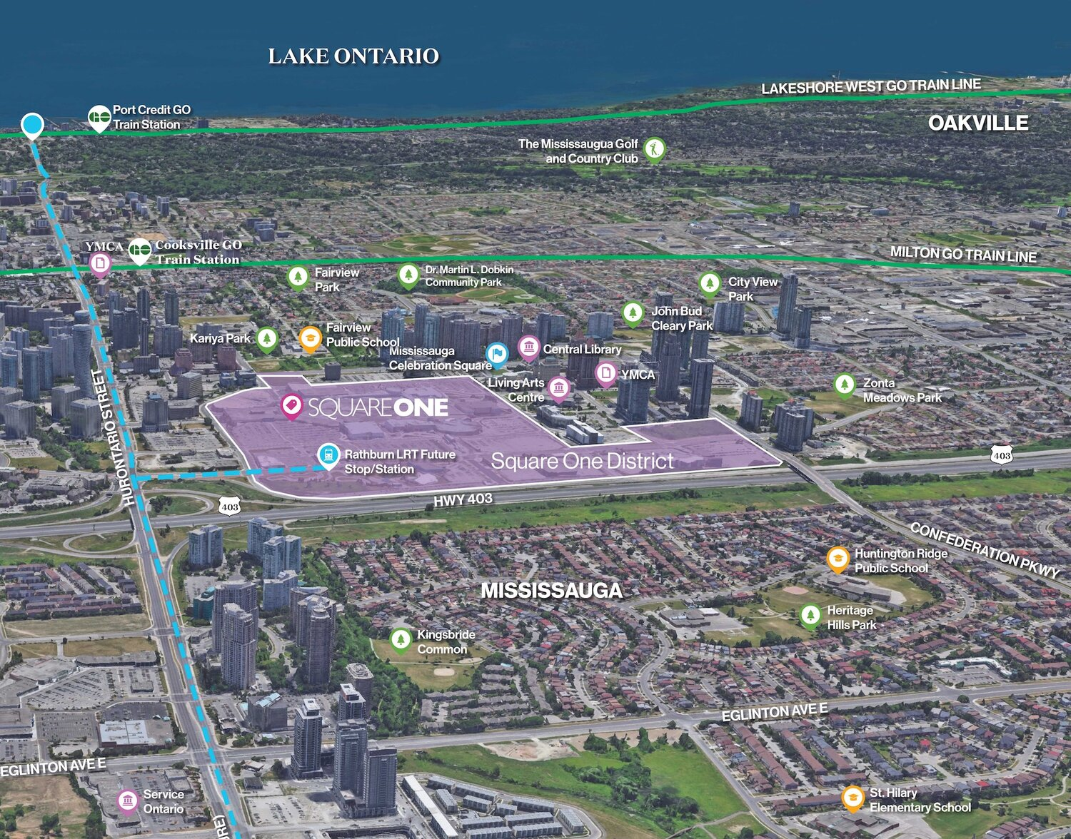 Square One District: 37 New Towers in Downtown Mississauga square one district condos for sale site location
