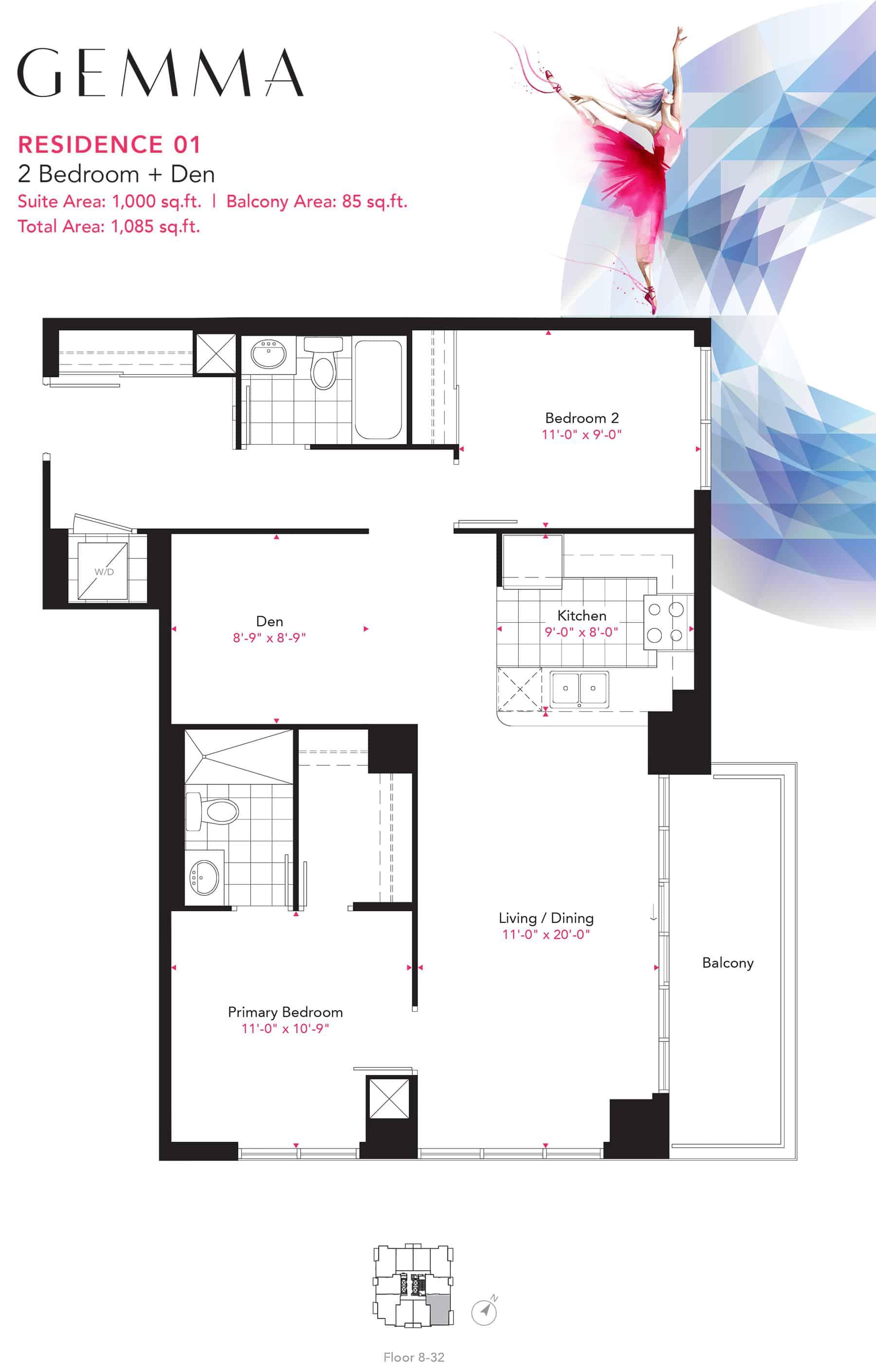 Residence-01-2B+D-1000-Sqft-Gemma  Gemma Condos Residence 01 2BD 1000 Sqft Gemma