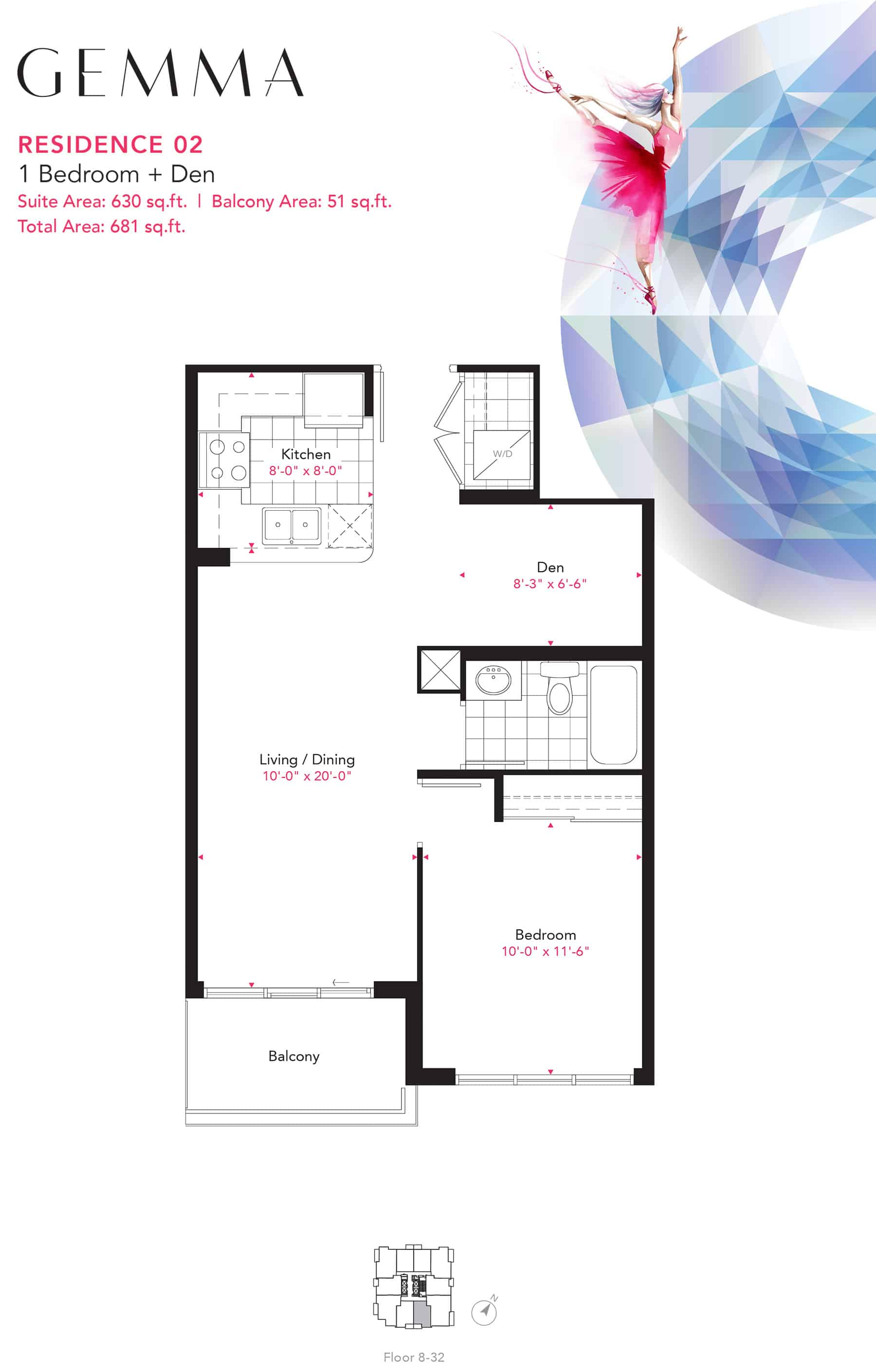 Residence-02-1B+D-630-Sqft-Gemma  Gemma Condos Residence 02 1BD 630 Sqft Gemma