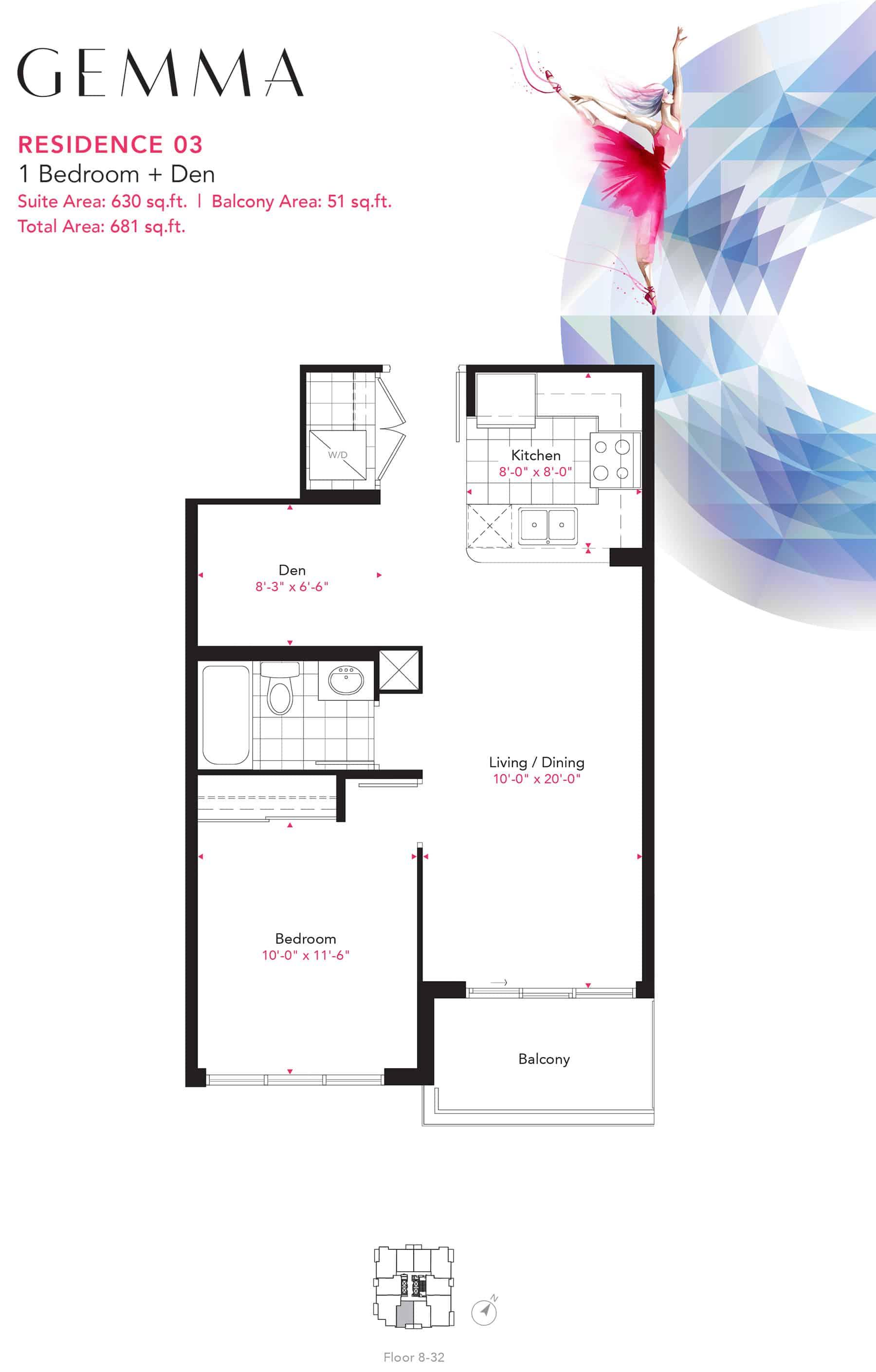 Residence-03-1B+D-630-Sqft-Gemma  Gemma Condos Residence 03 1BD 630 Sqft Gemma