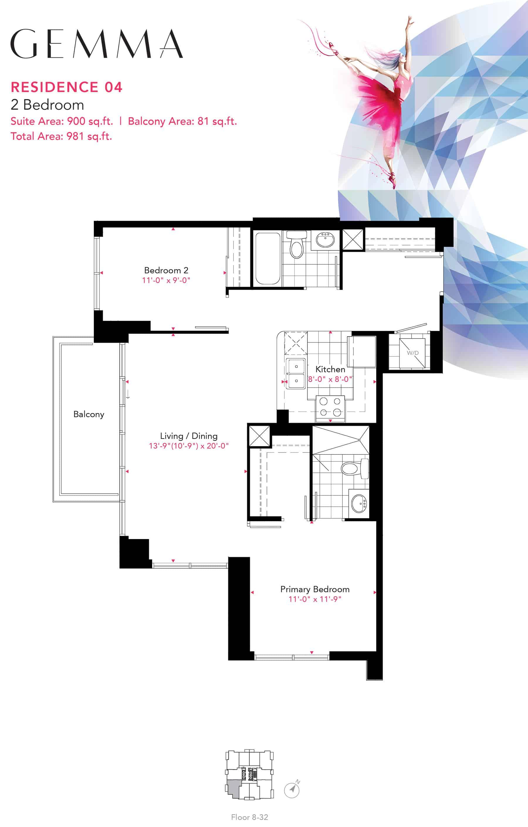 Residence-04-2B-900-Sqft-Gemma  Gemma Condos Residence 04 2B 900 Sqft Gemma
