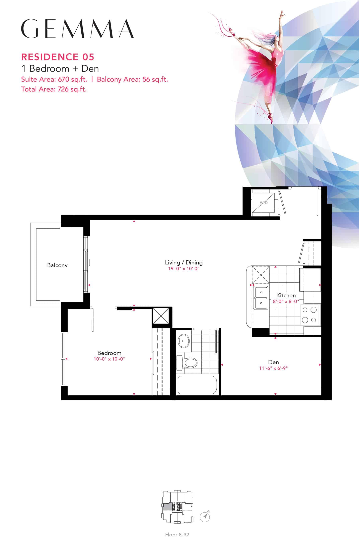 Residence-05-1B+D-670-Sqft-Gemma  Gemma Condos Residence 05 1BD 670 Sqft Gemma