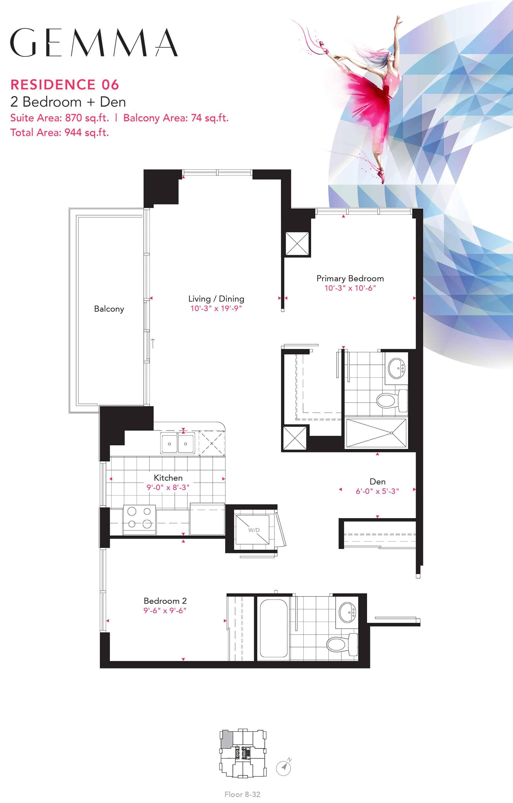 Residence-06-2B+D-870-Sqft-Gemma  Gemma Condos Residence 06 2BD 870 Sqft Gemma