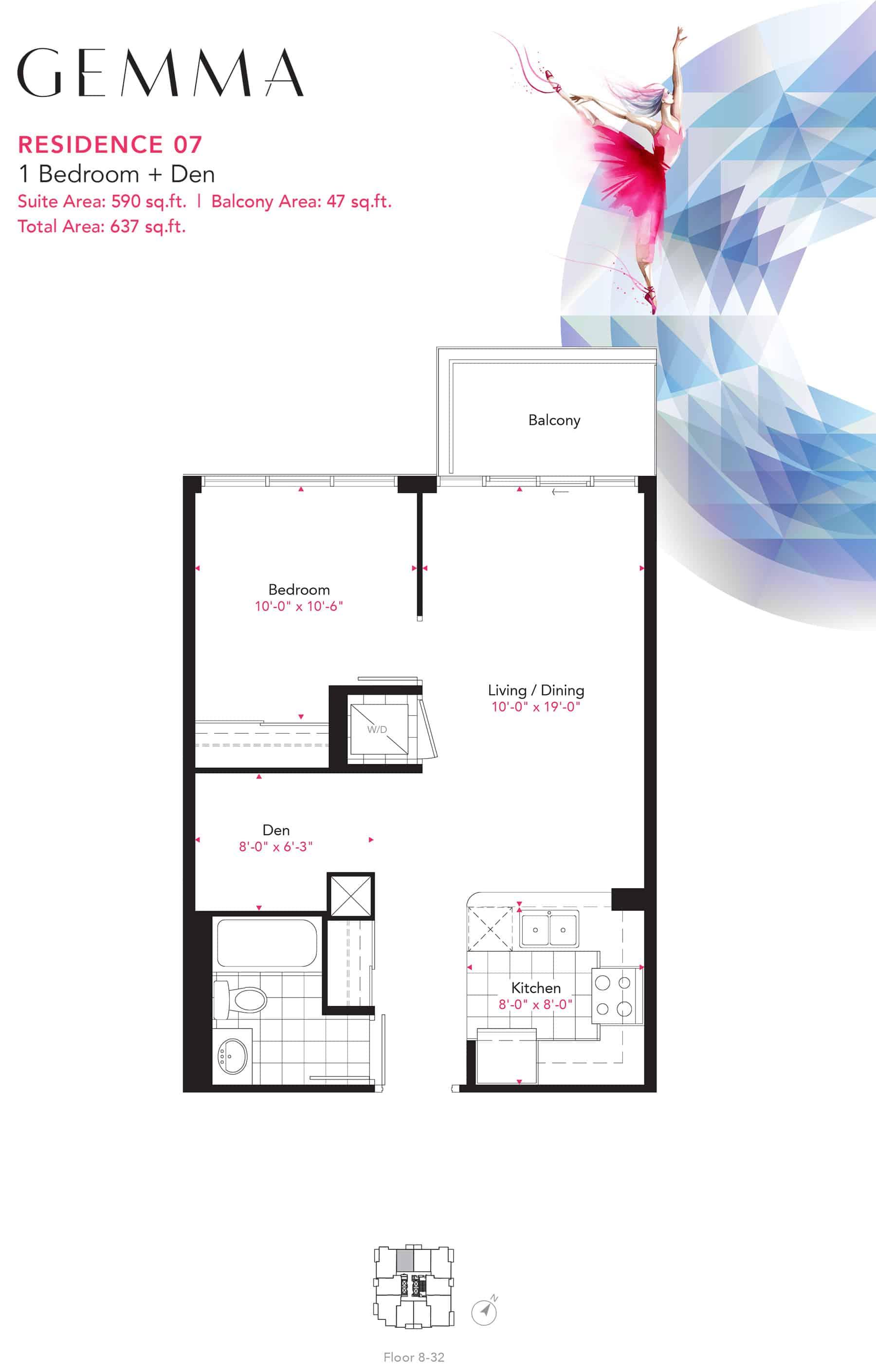 Residence-07-1B+D-590-Sqft-Gemma  Gemma Condos Residence 07 1BD 590 Sqft Gemma