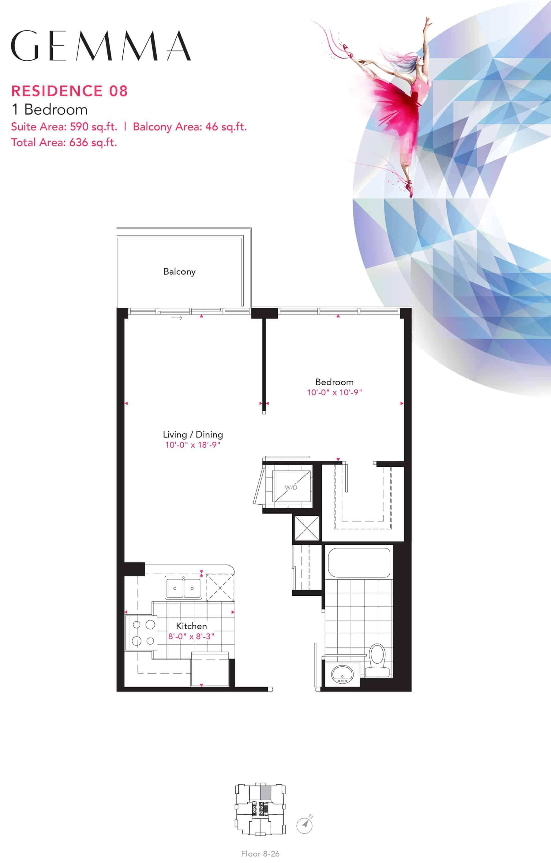 Residence-08-1B-590-Sqft-Gemma  Gemma Condos Residence 08 1B 590 Sqft Gemma
