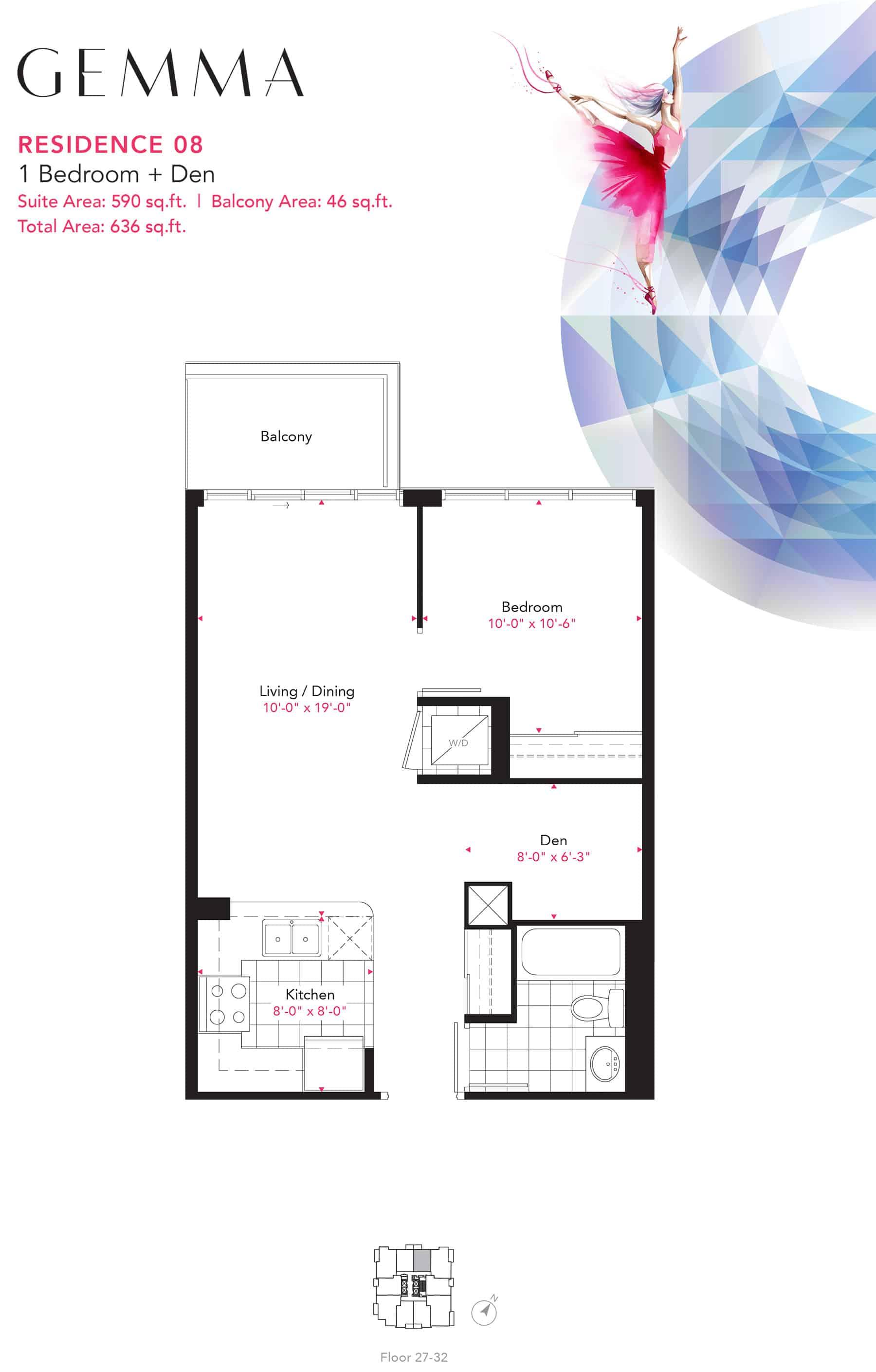 Residence-08-1B+D-590-Sqft-Gemma  Gemma Condos Residence 08 1BD 590 Sqft Gemma