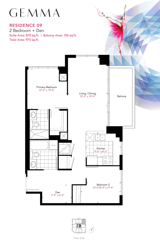 Residence-09-2B+D-870-Sqft-Gemma  Gemma Condos Residence 09 2BD 870 Sqft Gemma