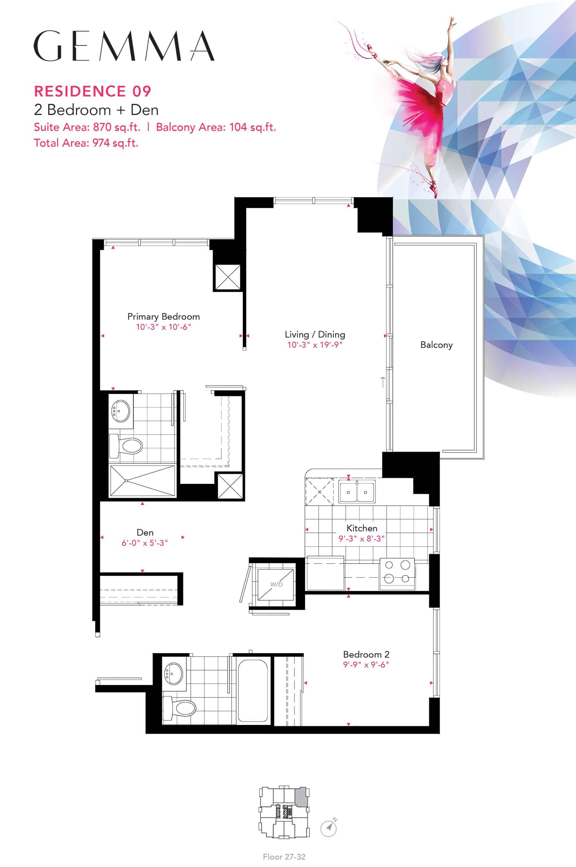Residence-09-V2-2B+D-870-Sqft-Gemma  Gemma Condos Residence 09 V2 2BD 870 Sqft Gemma