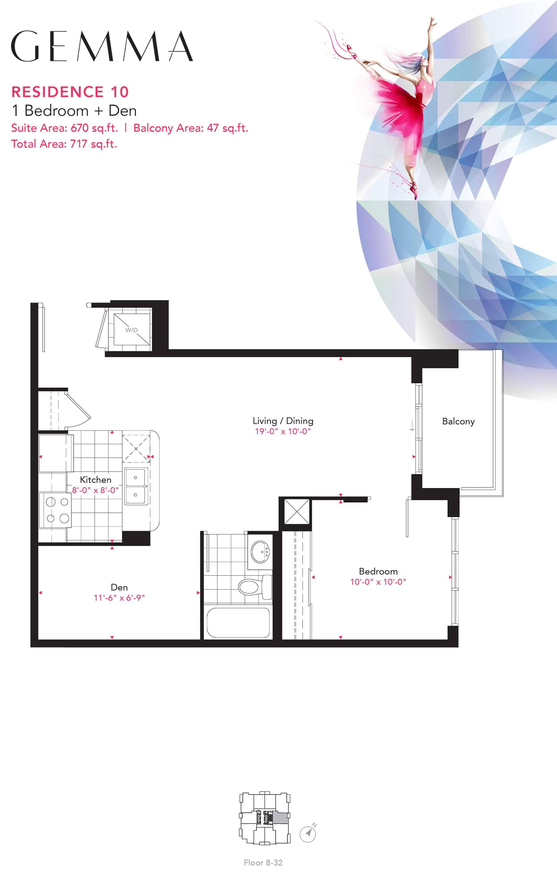 Residence-10-1B+D-670-Sqft-Gemma  Gemma Condos Residence 10 1BD 670 Sqft Gemma